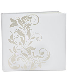 Philip Whitney Large White Self-Stick Photo Album with Silver-Tone Ivy Design