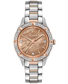 Women's Sutton Diamond (1/10 ct. t.w.) Two-Tone Stainless Steel Bracelet Watch 32.5mm