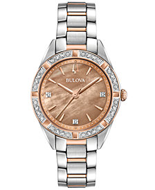 Bulova Women's Sutton Diamond (1/10 ct. t.w.) Two-Tone Stainless Steel Bracelet Watch 32.5mm