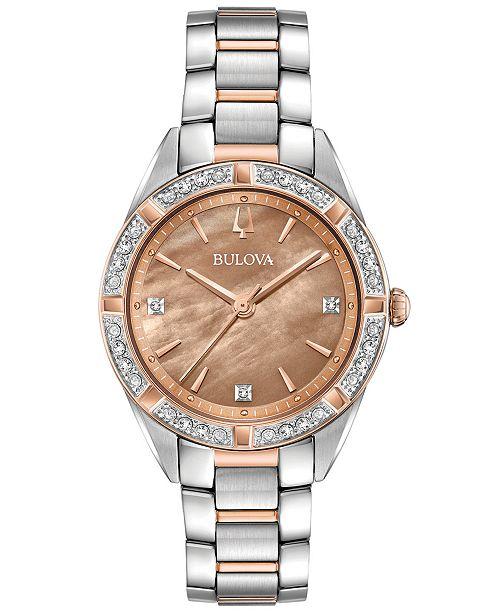 Bulova Women's Sutton Diamond (1/10 ct. t.w.) Two-Tone Stainless Steel Bracelet Watch 32.5mm