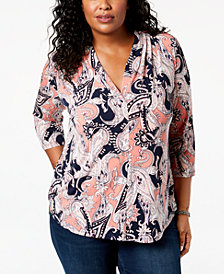Charter Club Plus Size Printed Pleated-Neck Top, Created for Macy's