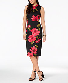 Nine West Floral Mock-Neck Sheath Midi Dress