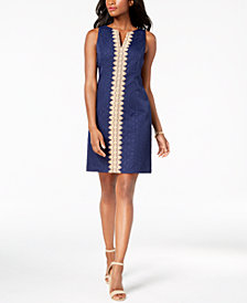 Pappagallo Brooke Lace-Trim Shift Dress