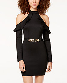 Material Girl Juniors' Cold-Shoulder Metallic-Belt Dress, Created for Macy's