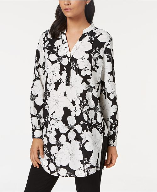 Petite Floral-Print Tunic, Created for Macy's