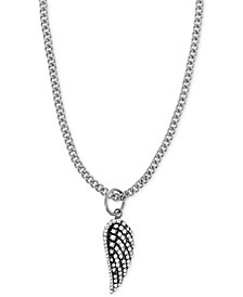 """King Baby Cubic Zirconia Pavé Wing 18"""" Pendant Necklace in Sterling Silver"""
