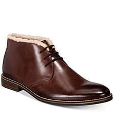 Alfani Men's Jason Fleece-Lined Leather Boots, Created for Macy's