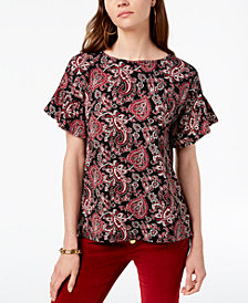 MICHAEL Michael Kors Paisley-Print Flutter-Sleeve Top, In Regular & Petite Sizes