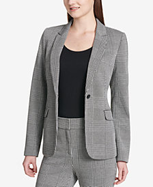 Calvin Klein Plaid One-Button Blazer
