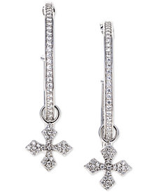 King Baby Women's Cross Hoop Earrings in Sterling Silver