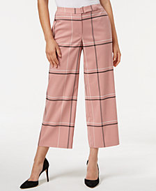 Alfani Petite Windowpane-Print Wide Cropped Pants, Created for Macy's