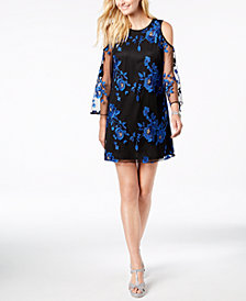 Thalia Sodi Embroidered Cold-Shoulder Dress, Created for Macy's