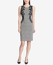 Calvin Klein Embroidered Appliqué Sheath Dress
