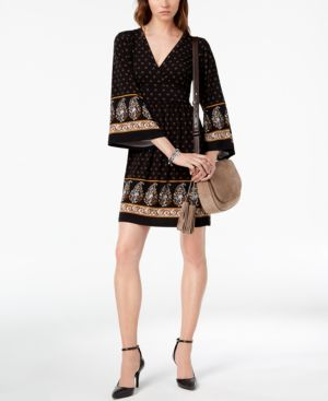 Michael Michael Kors Printed Bell-Sleeve Dress 6620751