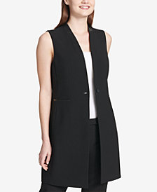 Calvin Klein Faux-Leather-Trim Vest