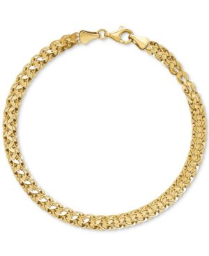 Wide Fancy Link Bracelet in 14k Gold -  Macy's