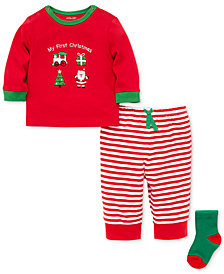 Little Me Baby Boys 3-Pc. Santa-Print T-Shirt, Striped Pants & Socks Set