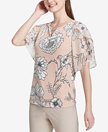 Calvin Klein Printed Flutter-Sleeve Split-Neck Blouse