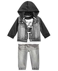 First Impressions Baby Boys Denim Jacket, Dude-Print T-Shirt & Jogger Jeans, Created for Macy's