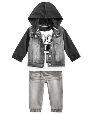 First Impressions Baby Boys Denim Jacket Dude Print T Shirt