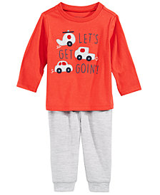 First Impressions Baby Boys Cars-Print T-Shirt & Heathered Jogger Pants, Created for Macy's