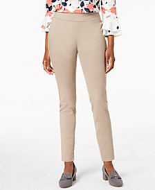 Charter Club Petite Pull-On Slim-Leg Twill Pants, Created for Macy's