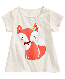First Impressions Toddler Girls Fox & Bow Graphic Cotton T-Shirt, Created for Macy's