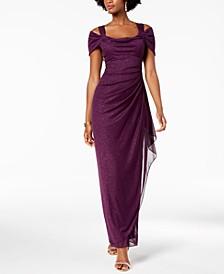 Cold-Shoulder Draped Metallic Petite Gown