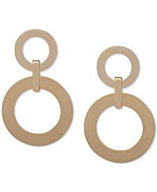 DKNY Gold-Tone Ring Double Drop Earrings