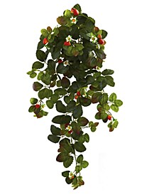 "2-Pc. 31"" Strawberry Artificial Hanging Bush Set with Berries"