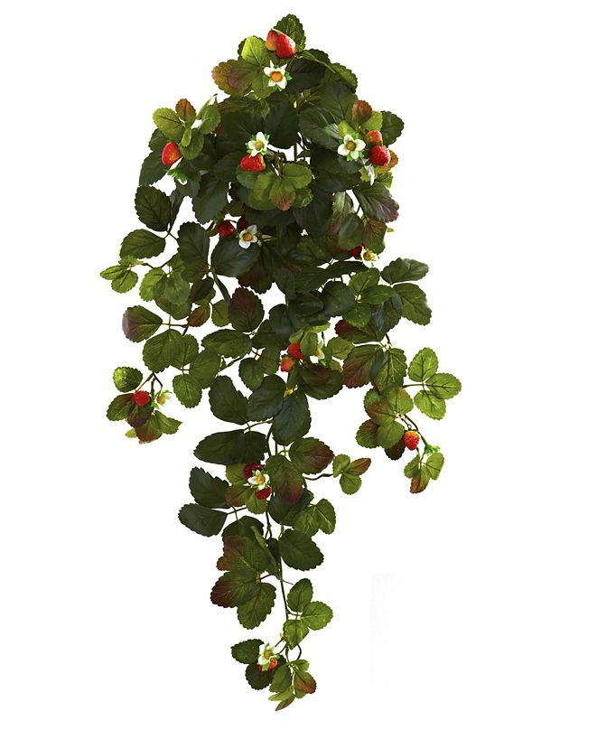 "Nearly Natural 2-Pc. 31"" Strawberry Artificial Hanging Bush Set with Berries"