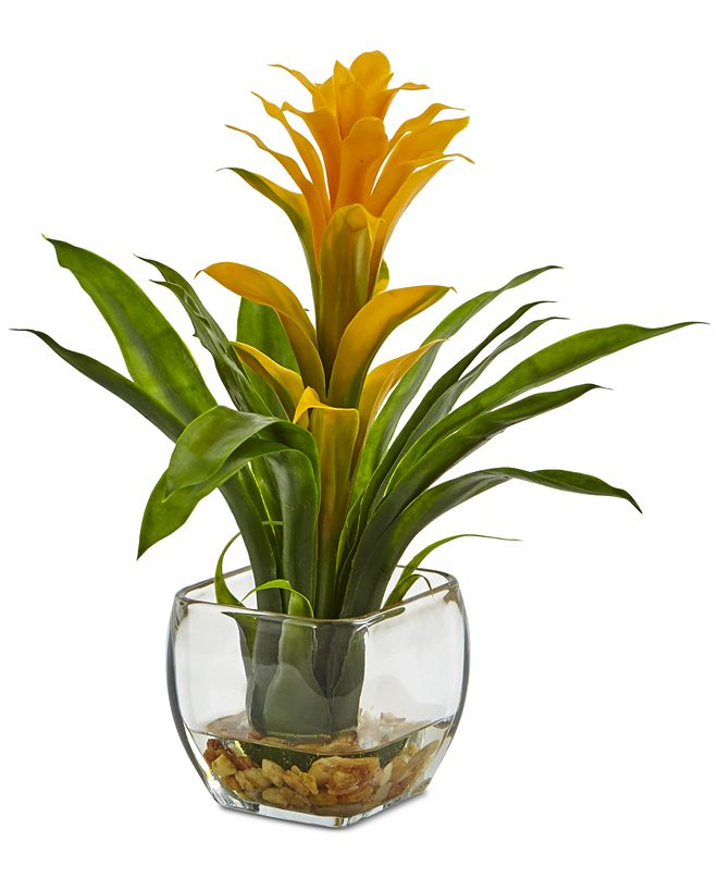 Nearly Natural Bromeliad Artificial Arrangement in Glass Vase