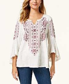 Style & Co Printed Split-Neck Angel-Sleeve Top