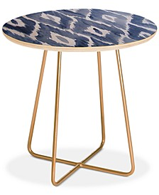 Natalie Baca Painterly Ikat in Indigo Round Side Table
