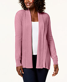 Karen Scott Ribbed Shawl Open Cardigan, Created for Macy's