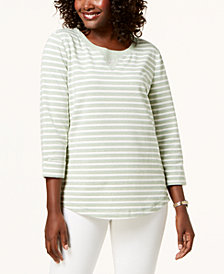 Karen Scott Petite Rhinestone-Embellished Sweatshirt, Created for Macy's