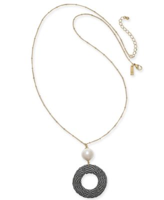 """I.N.C. Gold-Tone Imitation Pearl & Tweed Circle Pendant Necklace, 38"""" + 3"""" extender, Created for Macy's"""