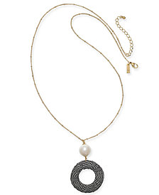 "I.N.C. Gold-Tone Imitation Pearl & Tweed Circle Pendant Necklace, 38"" + 3"" extender, Created for Macy's"