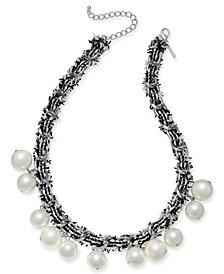 "I.N.C. Silver-Tone Imitation Pearl Fabric-Weaved Collar Necklace, 18"" + 3"" extender, Created for Macy's"