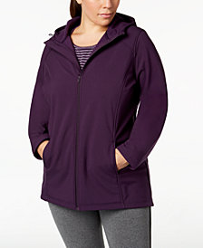 Ideology Plus Size Hooded Rain Jacket, Created for Macy's