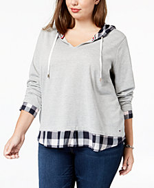 Tommy Hilfiger Plus Size Layered-Look Sweatshirt, Created for Macy's