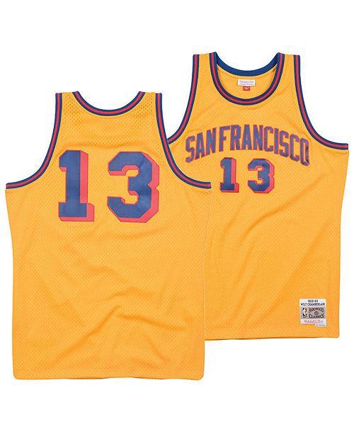 low cost 4e233 3b6cc Men's Wilt Chamberlain San Francisco Warriors Hardwood Classic Swingman  Jersey