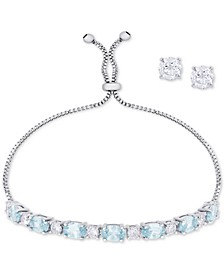 Simulated Aqua Topaz Slider Bracelet & Cubic Zirconia Stud Earrings Set In Fine Silver-Plate, March Birthstone