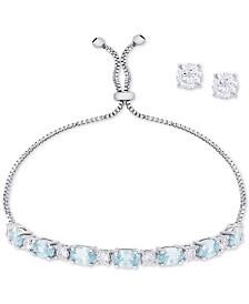 Simulated Aqua Topaz Slider Bracelet & Cubic Zirconia Stud Earrings Set In Fine Silver-Plate, March Birthstone