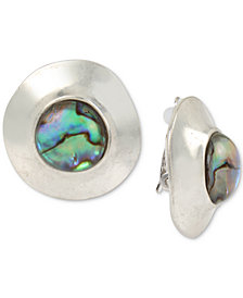 Robert Lee Morris Soho Silver-Tone Abalone-Look Stud Clip-On Earrings