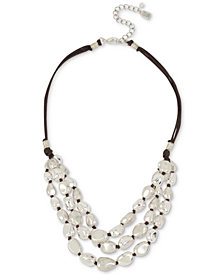 "Robert Lee Morris Soho Silver-Tone Bead & Wax Cord Multi-Row Statement Necklace, 18"" + 3"" extender"