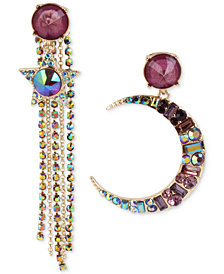 Betsey Johnson Gold-Tone Multi-Stone Moon & Star Fringe Mismatch Drop Earrings, Created for Macy's