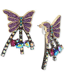 Betsey Johnson Two-Tone Colored Pavé Butterfly Burst Front-and-Back Earrings