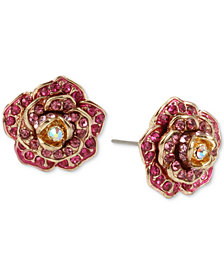 Betsey Johnson Gold-Tone Pavé Rose Stud Earrings
