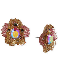 Betsey Johnson Gold-Tone Glittery Stone Stud Earrings